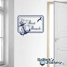 Life is Better at the Beach Anchor Vinyl Wall Decal Quote home art decor L116