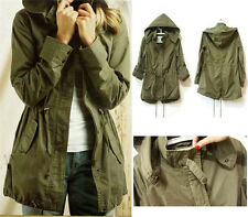 Womens Hoodie Drawstring Army Green Military Trench Parka Jacket Coat Jumper