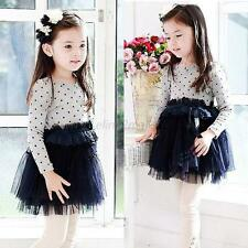 Toddlers Kids Girls Long Sleeve Polka Dots Princess Dress Lace Tulle Tutu Skirt