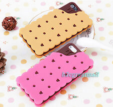3D Cookie Sandwich Biscuit Soft Silicone Cover Case F Iphone 4 4S 5 5S 3 Colours