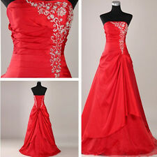 GK Ladies Red Chinese Style Appliqued Strapless Wedding Dress Long Bridal Veil