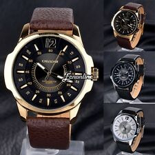 Mens Leather Band Elegant Dial Analog Date Big Face Sport Quartz Wrist Watch