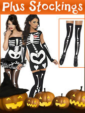 Ladies Sexy Skeleton Costume + Stockings Halloween Womens Fancy Dress Outfit