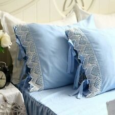 One Piece Shabby and Elegant Blue with White Wide Lace Macthing Pillowcase  1314