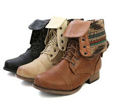 Womens Fold Over Plaid Military Combat Boots Motorcycle Riding Lace Up Zipper