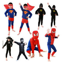 Halloween Cosplay Costume Spider-man Batman Superman Zorro Fancy Clothes Kids