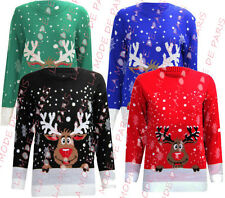 S53 NEW WOMENS LADIES NOVELTY CHRISTMAS JUMPER REINDEER XMAS RUDOLPH PLUS SIZE.