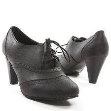 Blk Pointy Toe Ankle Bootie Victorian Lace Up Oxford Chunky Heel Pump Shoe Boot