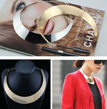 Women Gold Silver Tone Curved Mirrored Metal Choker Collar Mottled Bib Necklace