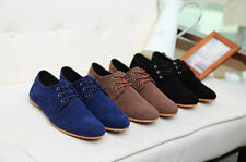 2014 men solid sale Suede Zapato Driving Moccasin Casual Sneaker Lace up Shoes