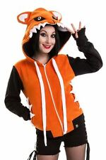 Cupcake Cult Foxy Hood Ladies Orange/Black Goth Emo Punk Girls Women