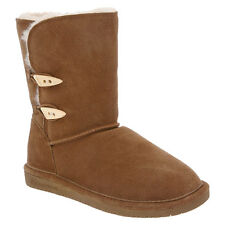 """BEARPAW 682W Women's Abigail 8"""" Sheepskin suede Boot with Toggle Buttons, Hickor"""