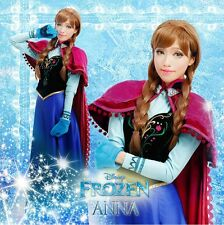 New FROZEN Princess Anna Dress/Cloak Suit Adult Girl Cosplay Costume XS-XL
