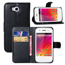 For WIKO Mobile phone Lychee Leather Black Flip Wallet Magnetic Stand Case Cover