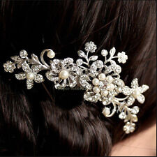 Fashion Rhinestone Bridal Wedding Party Pearls Headband Hair Clip Comb Jewelry