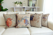 Vintage Country Floral Bird Theme Cotton Linen Throw Pillow Case Cushion Covers