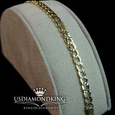 UNISEX 10K MARKED SOLID YELLOW GOLD 2 TONE CUBAN PAVE 4MM 8~9 INCH BRACELET