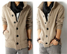 Fashion Men Warm Slim Button Jacket Cashmere Sweaters Cardigan Thick Coat Tops