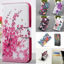 Watercolor Flip Leather Case PU Wallet Cover Skin Stand For Multi Mobile Phone