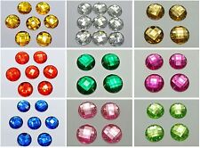 50 Acrylic Flatback Sewing Rhinestone Round Button beads 20mm Pick Your Color