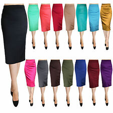 Sexy Bodycon Elegant Business Casual Solid Straight Pencil Skirt - Made in USA