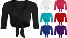 New Plus Size Womens Tie Front Long Sleeve Ladies Crop Shrug Cardigan Top 12-26