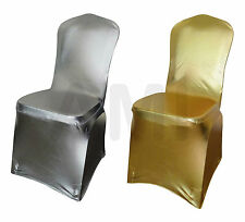 METALLIC GOLD OR SILVER SPANDEX LYCRA CHAIR COVERS WEDDING 1 6 10 30 50 100 150