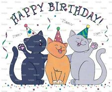 Happy Birthday Cats ~ Frosting Sheet Cake Topper ~ Edible Image ~ D880