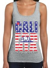 California Republic American flag vintage WOMAN TANK TOP state bear USA flag tee