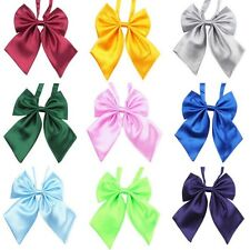26 Colors Women Girl Sailor School Pre-tied Satin Thin Wed Bowtie Bow Neck Tie