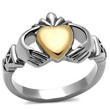 Lucky Irish CLADDAGH RING Size 5 6 7 8 9 10 J to T Rose Stainless Steel LTK1156E