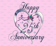 Happy 25th Anniversary ~ Frosting Sheet Cake Topper ~ Edible Image ~ D905