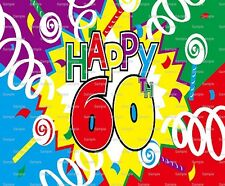 Happy 60th Birthday ~ Frosting Sheet Cake Topper ~ Edible Image ~ D5997