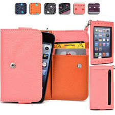 "Touch Responsive Woman-s Wrist-let Wallet Case Clutch AM|B fits 4.5"" Cell Phone"