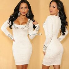 Women's  Scoop Neck Long Sleeve Beyonce Stretch Bodycon Dress Plus size VE4A
