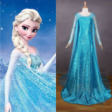 Fancy Women Frozen Princess Queen Elsa Tulle Costume Cosplay Elsa Dress Adult