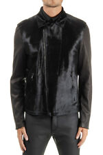 NEIL BARRETT men black Leather short skin jacket zip closure made in italy