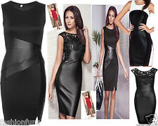 Womens Ladies Celeb Michelle Keegan Bodycon Black PU Insert Shortmini Dress 8-14