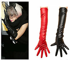 Celebrity Womens Faux Leather Long Gloves Arm Warmer Xmas Designer Inspired 50CM