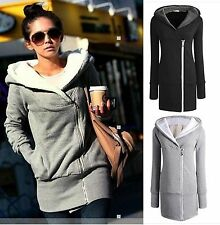Fashion Women Double Zips Long Sweatshirt Hoodie Jacket Coat Sweater Size 8-22