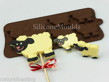 4+1 SHEEP LAMB Animal Chocolate Silicone Bakeware Cake Lolly Mould Candy Mold