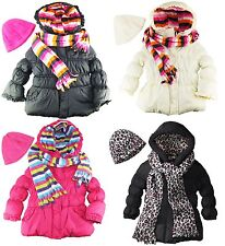 Pink Platinum Girls Puffer Winter Jacket with Scarf and Hat Set size 2T 3T 4T
