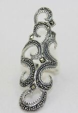 Marcasite Statement Middle Finger Ring .925 Sterling Silver Size 8 & 9
