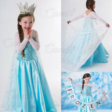 NEW FROZEN SNOW ELSA KIDS/GIRLS DISNEY ANNA DRESSES PRINCESS DRESS COSTUME PARTY