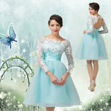 SALES~ APPLQUE Sexy Cocktail Evening Prom Party Short Bridesmaid PRINCESS Dress