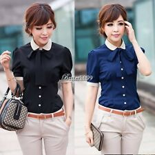 NEW Fashion Women OL Collar tie fastening Short sleeves Cuff Top Shirt Blouse BF