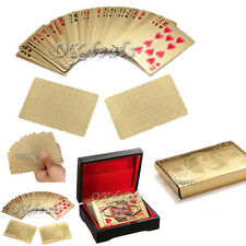 New 24K Karat Gold Foil Plated Game Poker Casino Playing Card box special gift