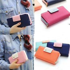 Fashion Women Leather Colorful Clutch Case Lady Long Handbag Zip Button Wallet