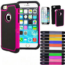 For iPhone 6 /plus Hybrid Rugged Rubber Matte Hard Case Cover w Screen Protector