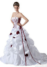Faironly Red Embroidery Custom Wedding Dress Bridal Gown Size 6 8 10 12 14 16+++